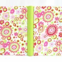 Notizbuch, DIN A5, 300 Seiten, rosa, hell-grün, pink, Blumen Bild 3