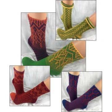 Mappe *Socks in Between* - 6 Strickanleitungen für zweifarbige kreative Socken im Matrix-Stil Bild 1