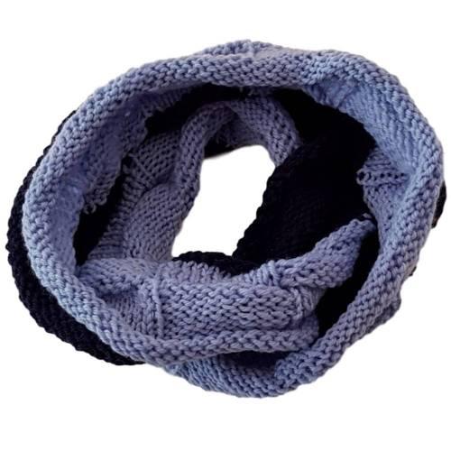 Rundschal / Loop gestrickt im Fantasiemuster feinste Wolle Merino Uno von Lana Grossa Umfang: 110 cm Marine Dunkelblau Hellblau