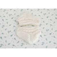 Babysocken gestrickt 0 bis 3 Mon, Creme weiße Söckchen Wolle und Milchfaser Garn  Bild 1