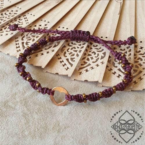 Armband mit Herz-Element aus 925 Silber (rosévergoldet) und Glasperlen - Größenverstellbar - Makramee - Koboldmakielfe