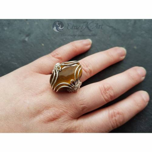 Ring Tigerauge U57 D18 handgewebt Unikat