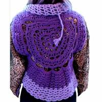 Weste Kreis Oval Hippie- Look Boho- Style Zöpfchen- Style Häkel- Look Größe 38/ 40 Violett Lila Bild 1