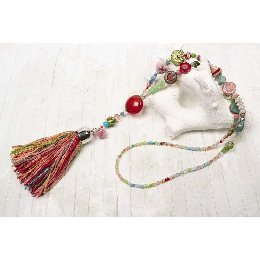 hippie-Bettelkette-Halskette-beadwork-Schmuck-Quasten-boho-Kette-bohemian-Schmuck-lange-Kette-rosa Bild 1