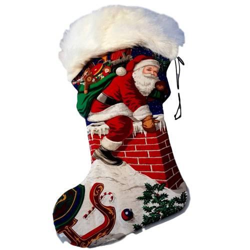 Riesenstiefel XXL Nikolausstiefel 97 cm lang Rot Blau Weiß Weihnachtsmannsack blaues Filzfutter weiße Plüsch- Krempe