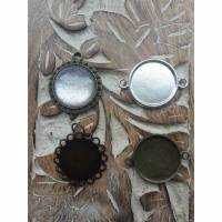 Anhänger Cabochon 20mm bronze o silberfarbe für Kette oder Armkettchen Motiv Silber Glitzer Bild 1