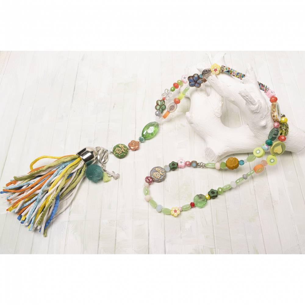 hippie-Bettelkette-Halskette-beadwork-Schmuck-Quasten-boho-Kette-bohemian-Schmuck-lange-Kette-bunt Bild 1