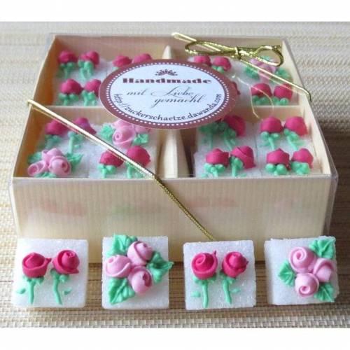 Zuckerwürfel dekoriert mit Rosen pink rosa 16 Stück in Geschenkverpackung