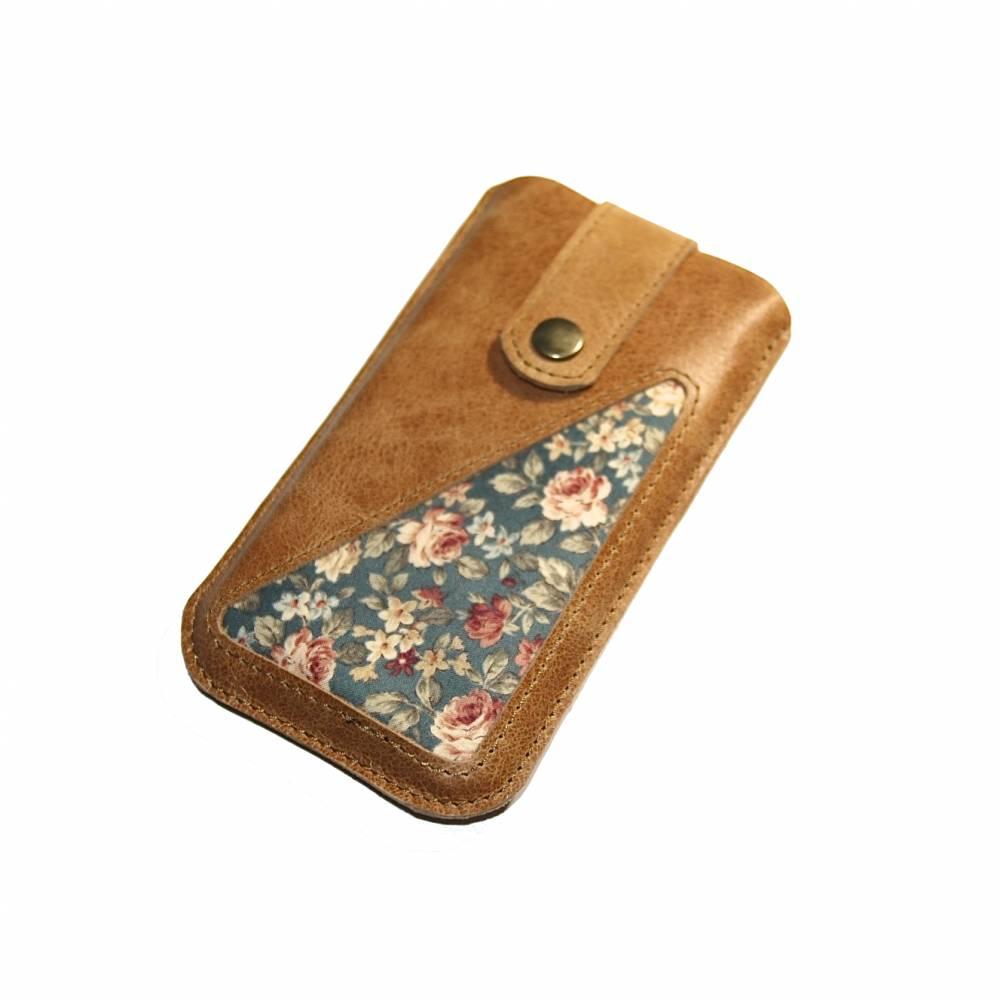 Smartphonetasche Leder & Rosenstoff hellbraun Bild 1