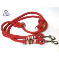 Hundeleine verstellbar Tau maritim rot weiß AlsterStruppi Wunschlänge Bild 1
