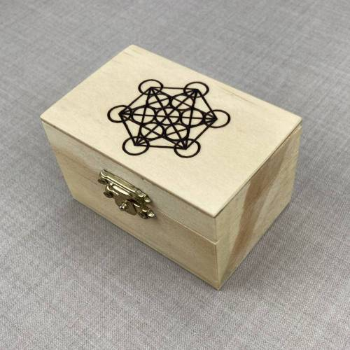 Metatron Holzbox, handgebrannt, kleine Heilige Geometrie Schmuckbox, Brandmalerei