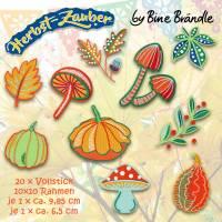 20 x Stickdatei, Stickmuster - Embroidery *Pilze, Blätter, Kürbisse* aus der Herbst-Zauber Serie by Bine Brändle Bild 1
