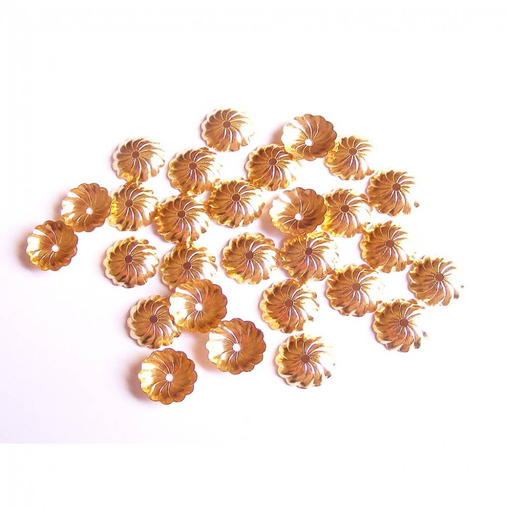 30 Perlkappen Blume 9 mm goldfarben Bild 1