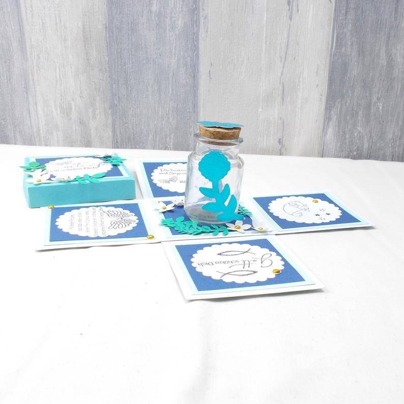 Explosionsbox Taufe Junge, Taufgeschenk, blau Bild 1