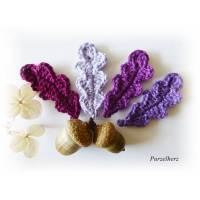 4 gehäkelte Eichenblätter - Lila Beerentöne - Häkelapplikation - fuchsia,lila Bild 1