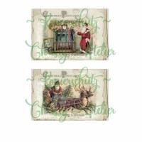 2 Papier -  Aufkleber / Etiketten  ~ Christmas  Postcard ~ Merry Christmas ~ A4  Motivbogen ~ No.42 Bild 1