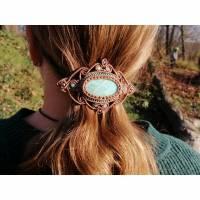 Makramee-Haarspange mit Amazonit in Türkis und Caramelbraun Bild 1
