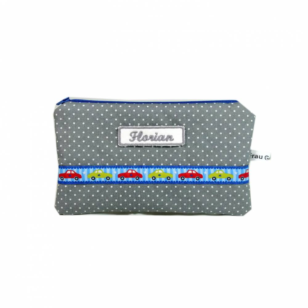 Täschchen Mäppchen grau blau Punkt Punkte Auto Autos Fahrzeuge handmade Bild 1