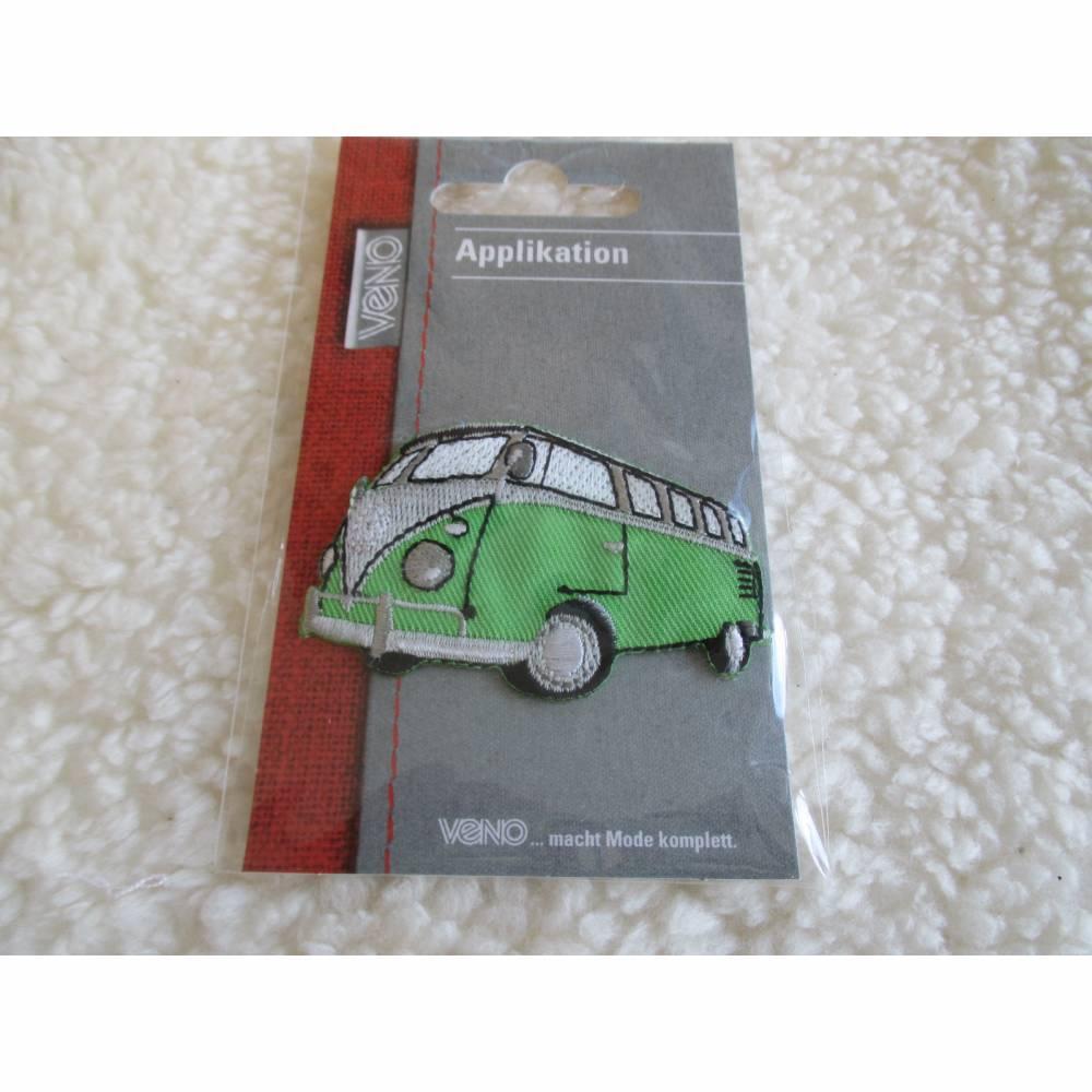 Aufbügler, Applikationen,Bügelbild, Bus, Bulli, grün , 60 x 42 mm (1 Stück/2,50 €) Bild 1