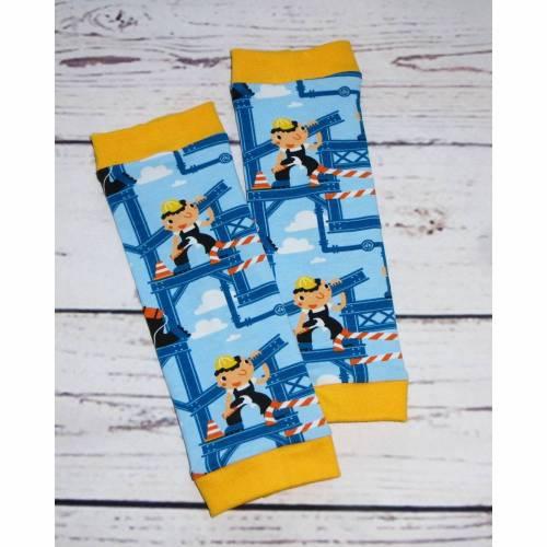 Baby-Stulpen blau-gelb Motiv-Baustelle-Bauarbeiter