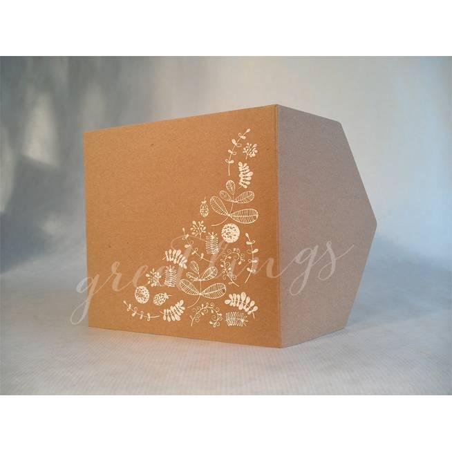 Taschenkarte / Gutscheinkarte Kraftkarton, Blumenmuster, Linolstempel Bild 1