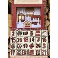 Beleuchtbarer Adventskalender zum Selbstbefüllen mit Diorama-Weihnachtsmarkt-Motiv Bild 1