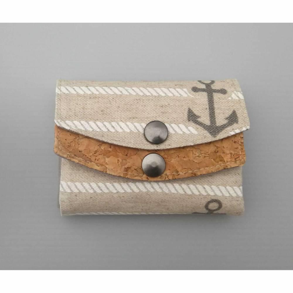 Maritimes Damen Mini Portemonnaie Kork  für die Hosentasche Beige Anker Bild 1