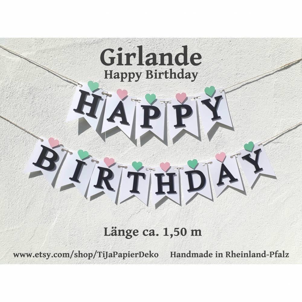 Girlande Wimpelkette Fahnengirlande Happy Birthday zum Geburtstag Partydekoration Geburtstagsdekoration  Bild 1