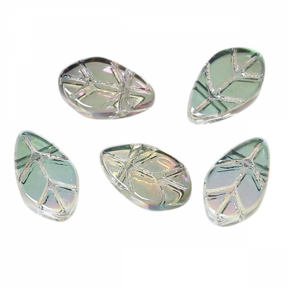 10 Glasperlen, Blatt, Blätter, Glasblätter, Perlen, Schmuckperlen, 63307 Bild 1