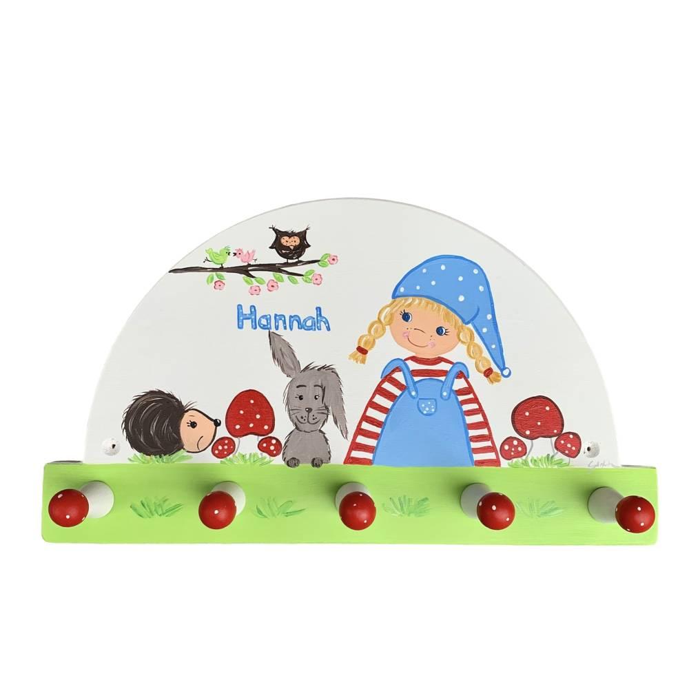 """Kindergarderobe """"kleines Wichtelmädchen""""  Garderobe Kinderzimmer Mädchen Bild 1"""