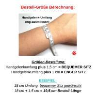 Holz Perlen Armband mit Namen personalisiert, Buchstaben schwarz weiß, Stretchband Holzperlen Dunkelbraun Karamell Braun Bild 5