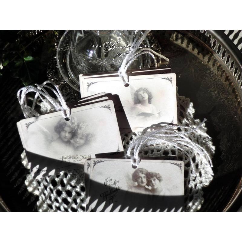 Weihnachten, Geschenkanhänger Set mit 9 Stück und tollen Vintage Engeln. Bild 1