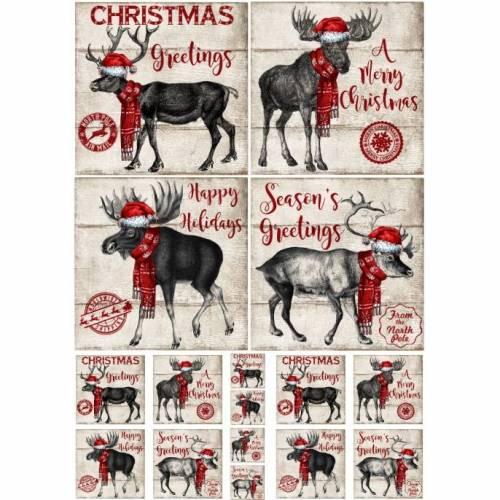 Bastelpapier - Decoupage-Papier - A4 - Softpapier - Rentier - Weihnachten - Vintage - Shabby - Country - 12083