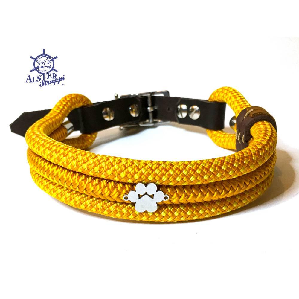Hundehalsband verstellb. gelb orange 40-45cm, alle Längen möglich Bild 1