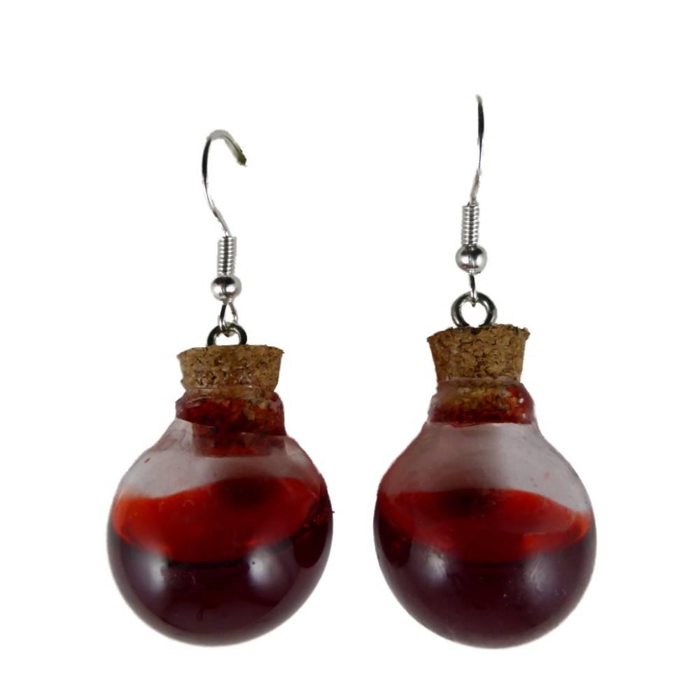 Ohrringe Hänger Ohrhänger Flasche Fläschchen Glas Kessel gefüllt Kunstblut Blut rot Flüssigkeit Gothic Vampir Halloween 10.187 Bild 1