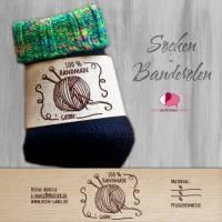 6 Sockenbanderolen: Handmade - personalisierbar   mit transparente Klebepunkte Bild 1