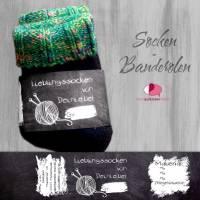 6 Sockenbanderolen: Lieblingssocken Tafeloptik - personalisierbar   mit transparente Klebepunkte Bild 1