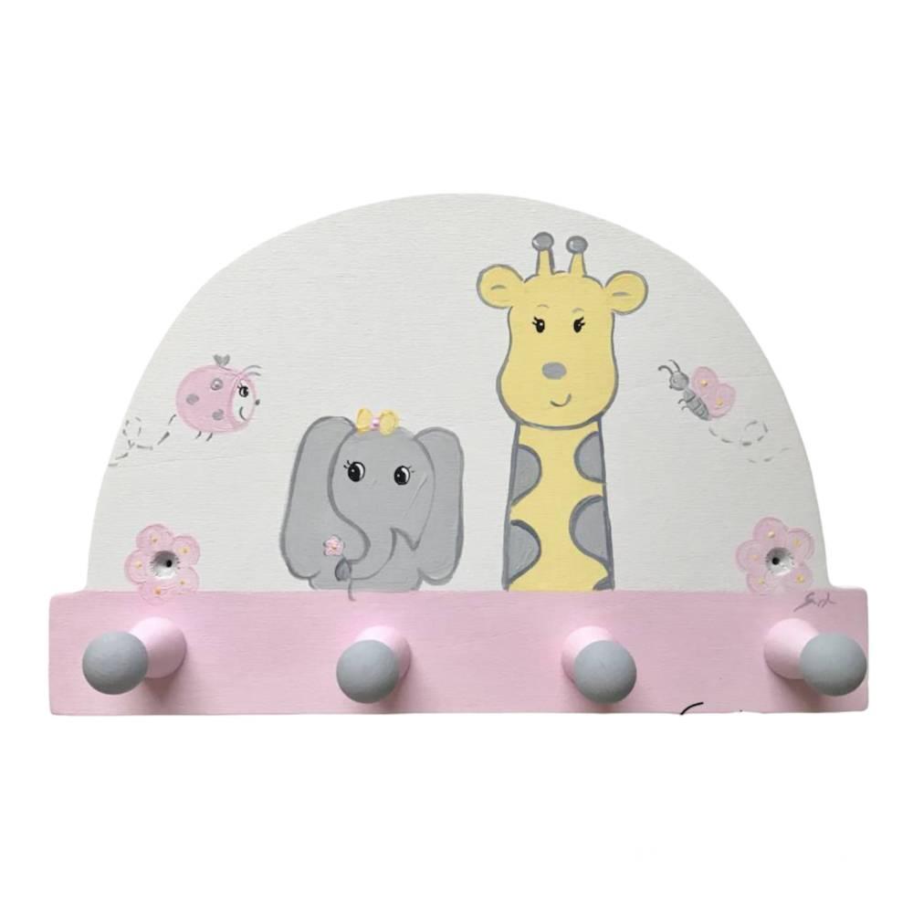 "Kindergarderobe ""Giraffe und Elefant ""  Garderobe Kinderzimmer  Bild 1"