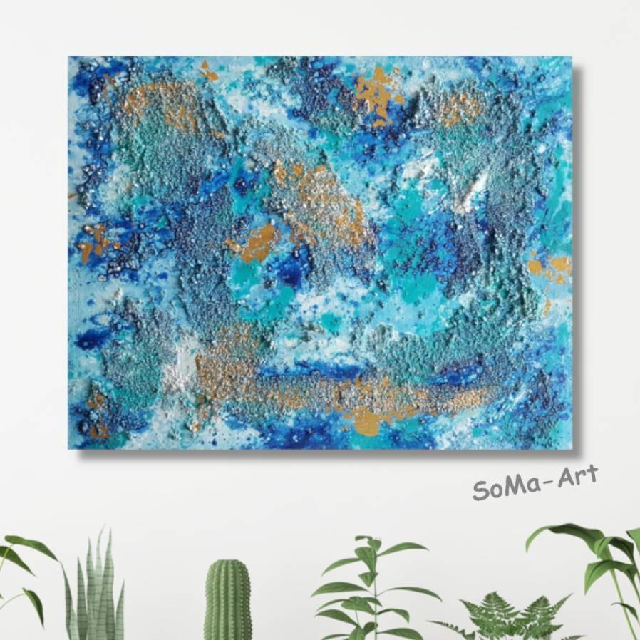 Abstraktes Strukturbild auf MDF Platte, harmonische Farbgebung in Blautönen und Gold, Wandkunst, moderne Acrylmalerei, Kunst Bild 1