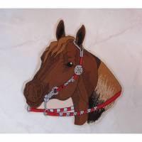 Applikation, Aufnäher Pferdekopf mit Zügel, gestickt, ca. 20 x 21 cm Bild 1
