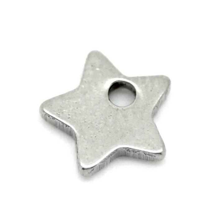 10 Edelstahl Sterne, Stern, Sternanhänger, Anhänger,Edelstahl, Charm,charms, 19128 Bild 1