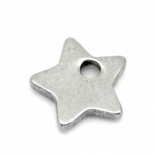 10 Edelstahl Sterne, Stern, Sternanhänger, Anhänger,Edelstahl, Charm,charms, 19128