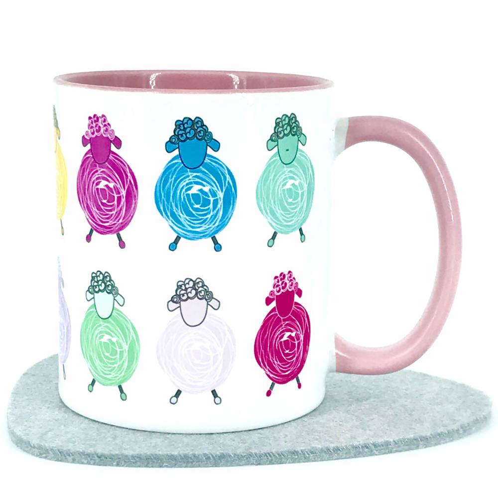 Geschenk Tasse Süße Schafe Tier-Motiv Kaffeebecher rosa für Woll- und Strickbegeisterte Bild 1