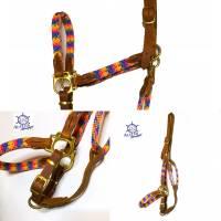 Pferdehalfter Tauhalfter mit Leder, komplett handgenäht, für Mini Shetty, Shetty, Pony, Cob, Warmblut, Kaltblut Bild 4