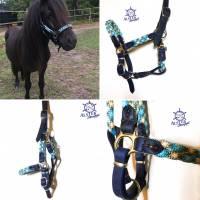 Pferdehalfter Tauhalfter mit Leder, komplett handgenäht, für Mini Shetty, Shetty, Pony, Cob, Warmblut, Kaltblut Bild 7