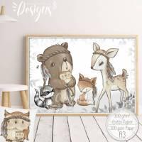A3 Poster| Babyzimmer Kinderzimmer Bilder Waldtiere Tiere Kinderbild |SET 52 Bild 1