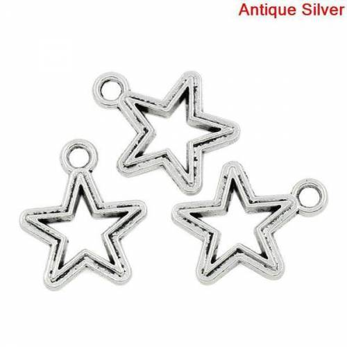 20  Stern, Sterne, Sternanhänger, Anhänger,Vintage-Stil, Charm,charms,  03246