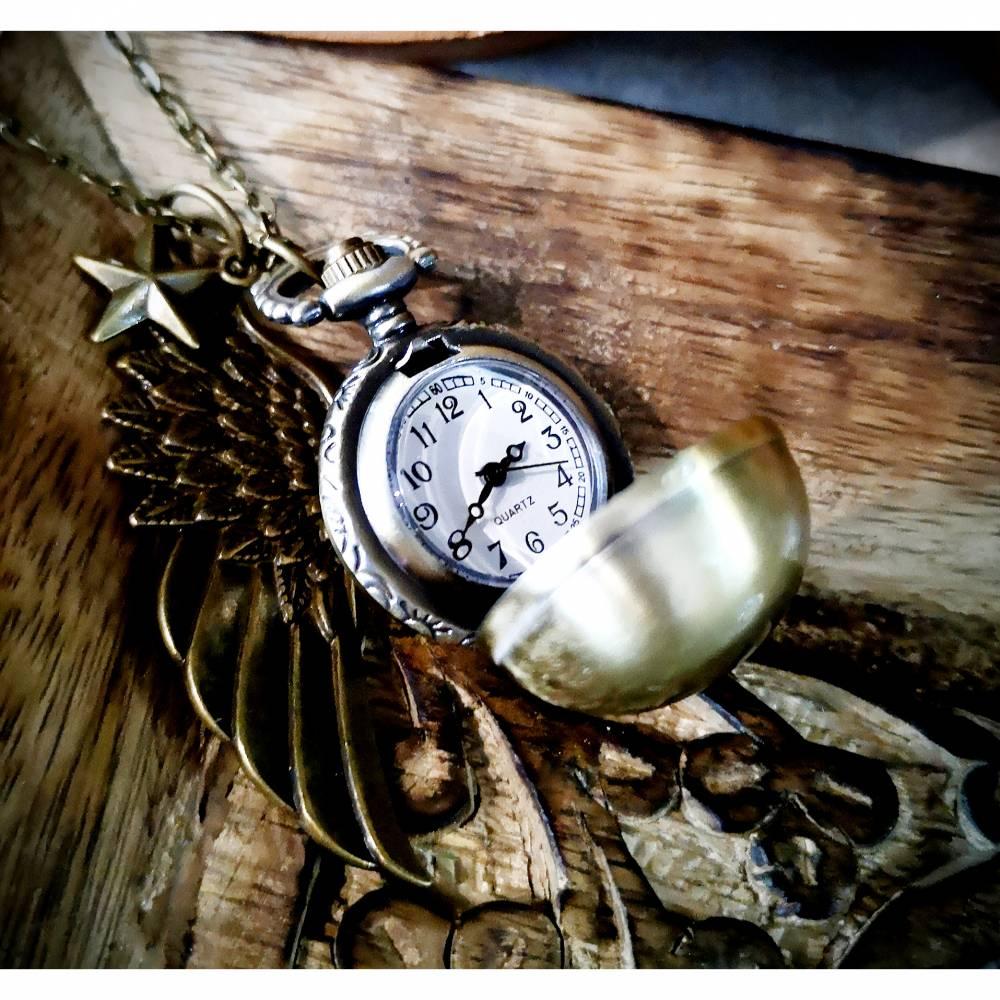 Kettenuhr, Uhr, Damenuhr, bronzefarben,Uhrenkette, Engel, Kugel, Stern, beschützen, Vintage, Antik Bild 1