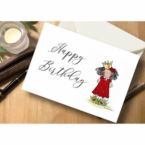 """Briefkarte Prinzessin """"Happy Birthday"""""""
