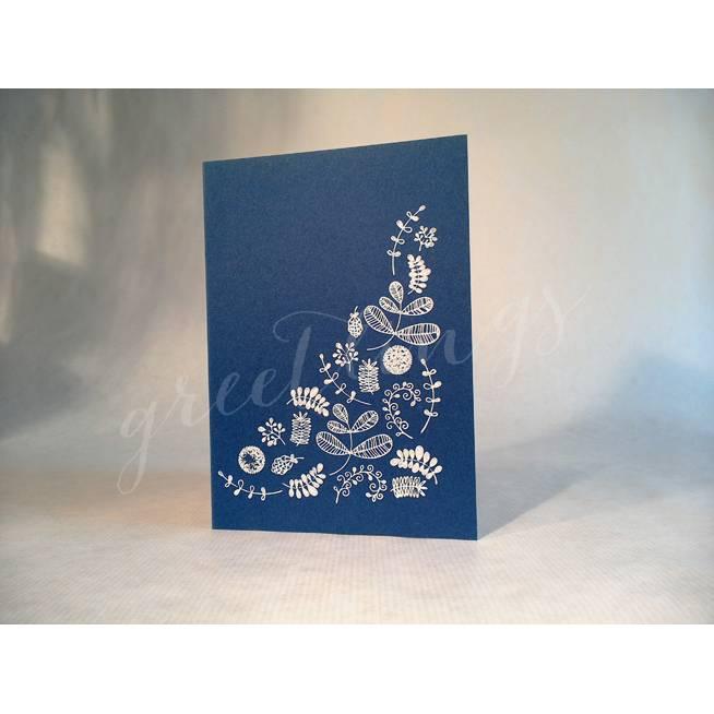 Klappkarte A6, Recyclingkarton, Linolstempel Blumenmuster Bild 1